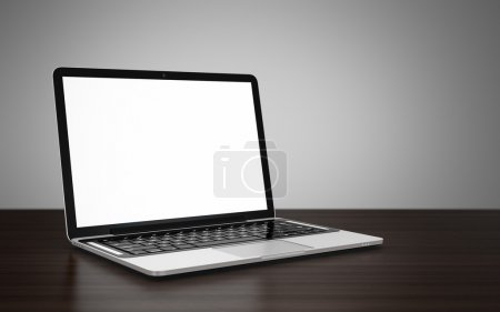 Photo for 3D image of modern laptop with blank screen on wooden table next to gray wall - Royalty Free Image
