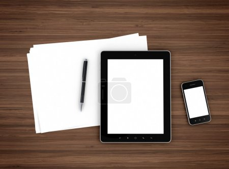 Photo for 3d illustration of modern mobile devices, sheet of paper and pen on wooden table - Royalty Free Image