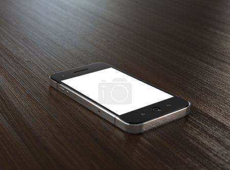 Photo for 3D illustration of modern mobile phone with blank screen on wooden table. - Royalty Free Image