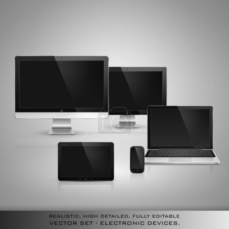 Illustration for Realistic high detailed vector illustration of electronic devices on gray background. - Royalty Free Image