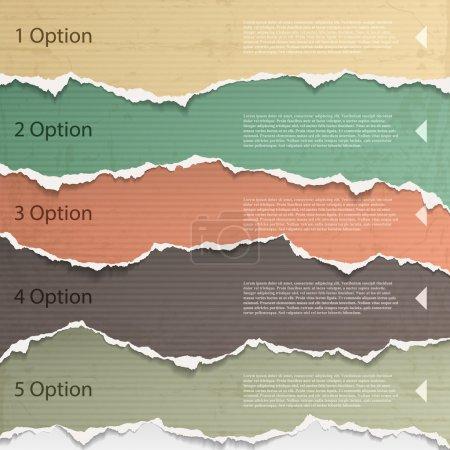 Illustration for Design elements - multi colored torn paper. - Royalty Free Image
