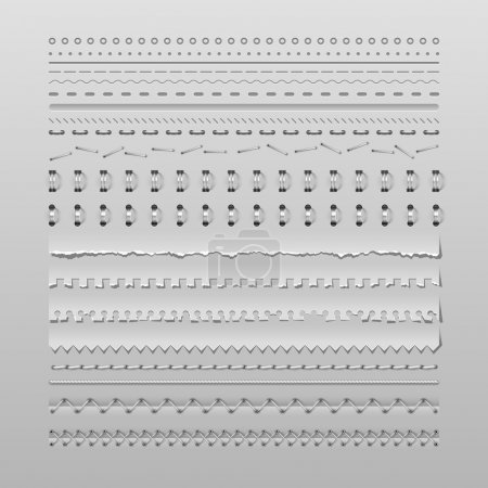 Illustration for Design elements vector set of high detailed stitches and dividers - Royalty Free Image
