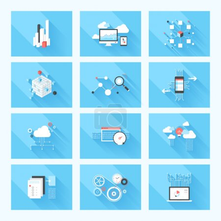 Illustration for Vector illustration concept of SEO optimization, data analysis and storage, cloud computing and program coding isolated on blue background with long shadow. - Royalty Free Image