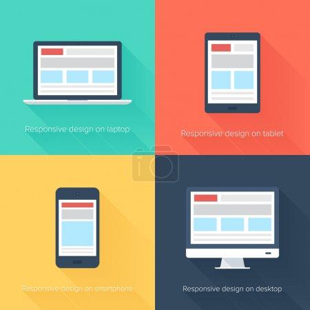 Illustration pour Illustration vectorielle de la conception Web adaptative sur différents appareils électroniques - image libre de droit