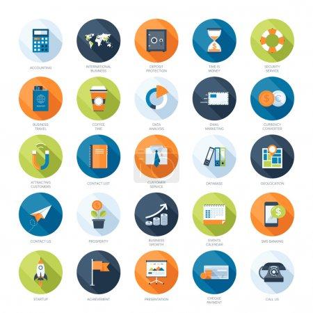 Illustration pour Collection vectorielle d'icônes colorées plates d'affaires et de finance avec une ombre longue. Eléments de conception pour applications mobiles et web . - image libre de droit