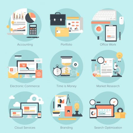 Photo for Vector set of flat and colorful concepts on business and finance, electronic commerce, marketing, office, branding, cloud services and SEO theme . Design elements for web and mobile applications. - Royalty Free Image