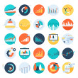 Vector set of flat business chart icons...