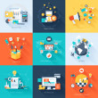 Vector collection of flat and colorful business and finance concepts with long shadow. Design elements for web and mobile applications.