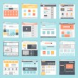 Vector collection of flat website templates on blu...