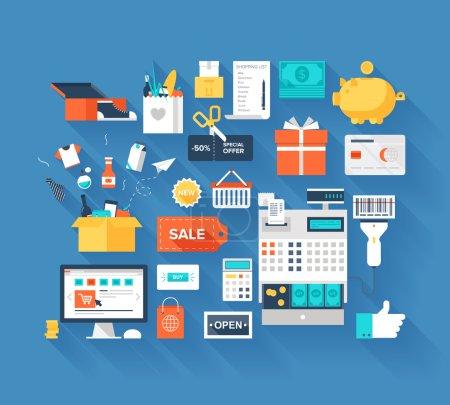 Illustration pour Conception vectorielle plate de shopping et concept de vente au détail avec une ombre longue isolée sur fond bleu . - image libre de droit