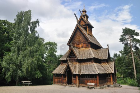 Photo for Gol stave church in Folks museum Oslo, old wooden church - Royalty Free Image