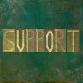 Earthy background image and design element depicting the word support