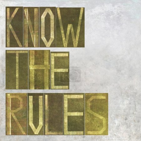 """Earthy background image and design element depicting the words """"know the rules"""""""