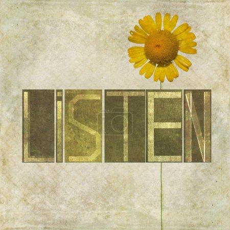 """Photo pour Image de fond terreux et élément de conception représentant le mot """"Écouter """" - image libre de droit"""