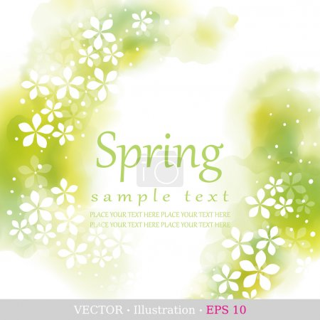 Illustration for Spring. Four seasons calendar days of the year cover of the title page. Colorful hand drawn design from watercolor stains. Vector illustration. - Royalty Free Image