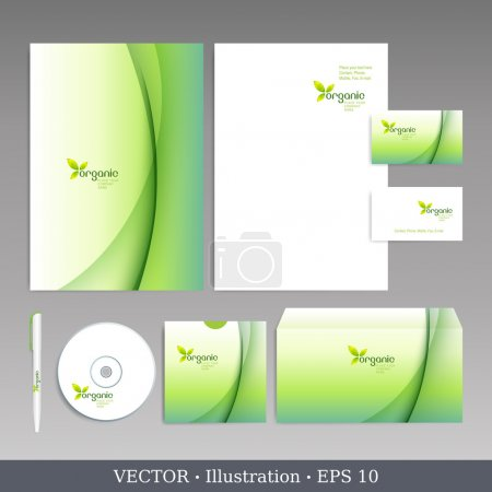 Illustration for Corporate identity template. Organic style. Editable corporate identity template - design including CD, letterhead blank, envelope and visiting card. Vector illustration. - Royalty Free Image