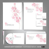 Corporate identity template for business artworks Editable corporate identity template - design including CD letterhead blank envelope and visiting card Vector illustration