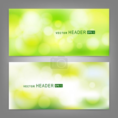 Illustration for Set of vector banners with beautiful spring forest bokeh. Spring or summer abstract nature background - Royalty Free Image