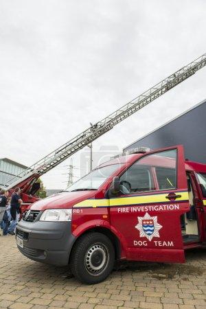LONDON, UK - OCTOBER 20: Detail of British fire brigade dog team