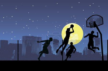 Four basketball players