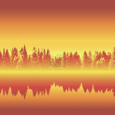 Illustration pour Forêt horizontale sans couture avec réflexion, illustration vectorielle, eps10 - image libre de droit