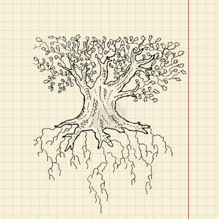 Oak tree sketch on school paper