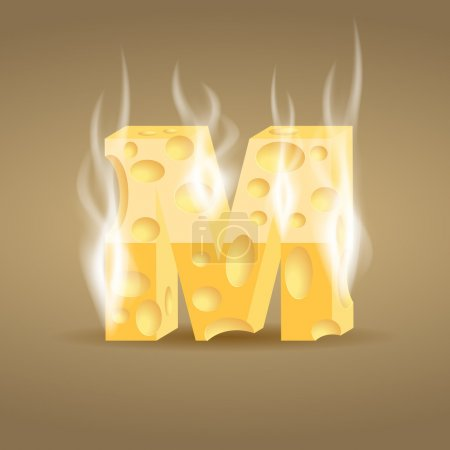 Letter M made of hot cheese