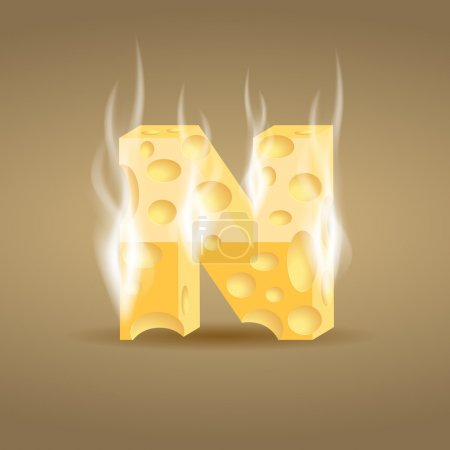 Letter N made of hot cheese