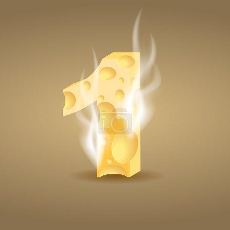 Illustration pour Figure 1 faite de fromage chaud (voir autres caractères du fromage dans mon portfolio), illustration vectorielle, eps10, ombre transparente et fumée - image libre de droit