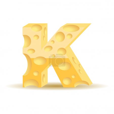 Letter K made of cheese