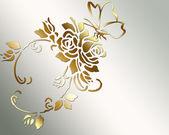 "Постер, картина, фотообои ""Золотая Роза и бабочка."""