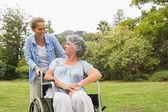 žena na vozíku v parku s dcerou