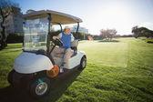 Golfista obrácení jeho golfového kočárku