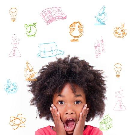 Composite image of school subjects doodles