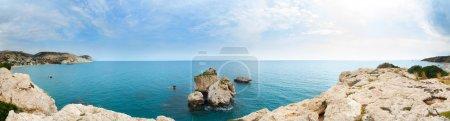 Cyprus rock of Aphrodite panorama