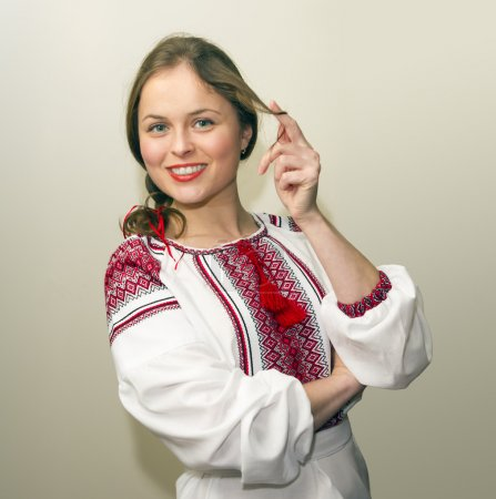 Photo for Portrait of beautiful young woman in the Ukrainian national clothes - Royalty Free Image