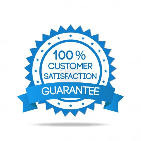 Illustration for Blue customer service badge isolated - Royalty Free Image