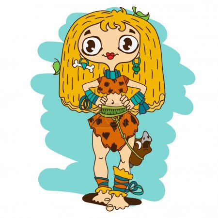 Illustration for Cute caveman girl with boar's head on a belt - Royalty Free Image