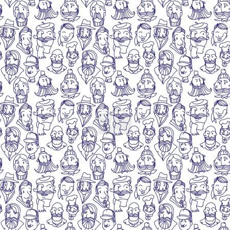 Seamles pattern of doogles faces peoples