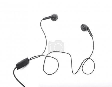 Modern portable audio earphones isolated
