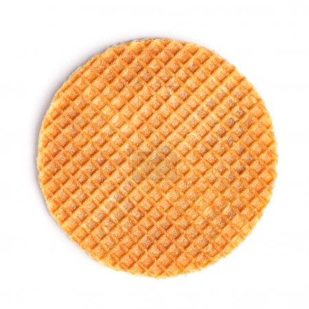 Photo pour Gaufre ronde rousse isolée sur fond blanc - image libre de droit