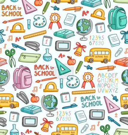 Illustration for Seamless pattern with set of different school things in color - Royalty Free Image