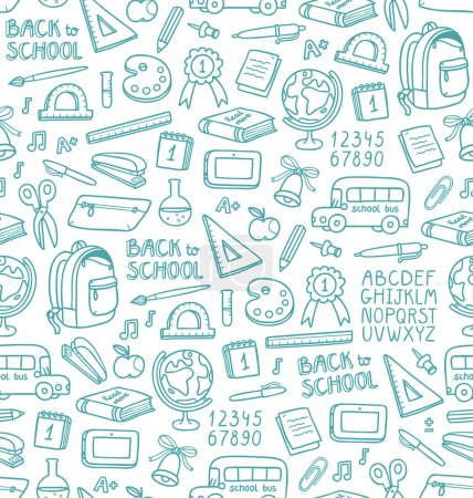 Illustration for Seamless pattern with set of different school things - Royalty Free Image