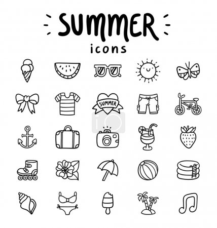 Illustration for Set of 25 vector summer icons - Royalty Free Image
