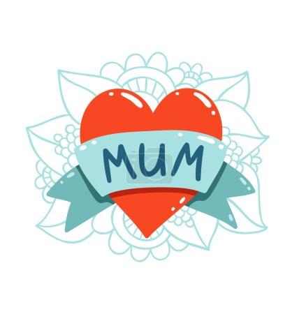 Heart tattoo with mum ribbon