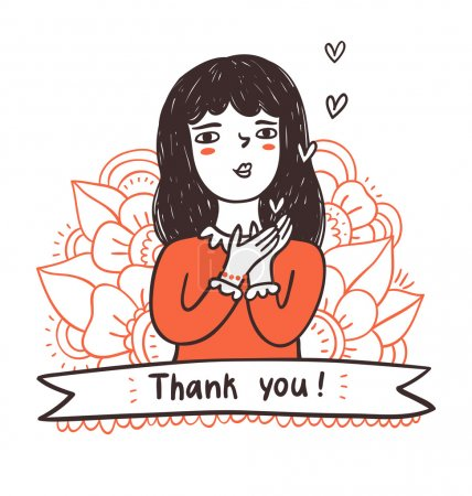 Illustration for Girl sending hearts, thank you on a ribbon, vector illustration - Royalty Free Image