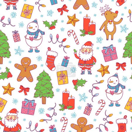 Christmas pattern on white