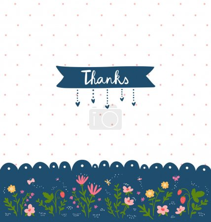 Illustration for Thank you card with floral decorations and dotted background - Royalty Free Image