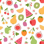 Stylized flat fruits berries and pink flowers seamless pattern