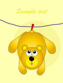 animals hanging on a rope Baby card Vector
